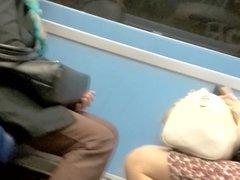 Train legs voyeur