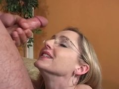 Blonde sucks dick gets a facial