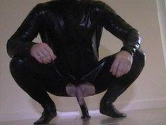 guy catsuit anal dildo