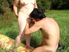 Licking hairy pussy outdoor