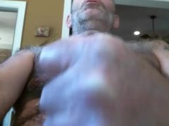 Hairy mature buddy shoots again