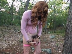 Naked Transgender cums in the woods!
