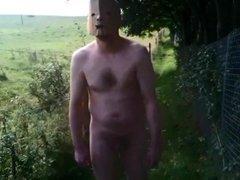 Nude in Public - Short Pathway Walk in Woods