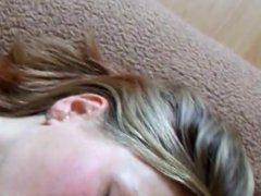 Amateur blonde sucks my cock head until I shoot on her face