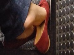 Candid teen soles in subway