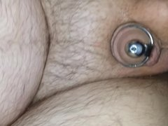 American bombshell prostate milking with penis plug inserted