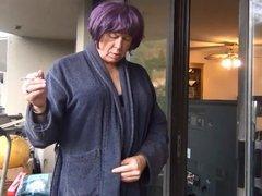 Naughty Gigi smoking - black bra and panties