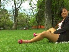 Amateur latina Beatriz flashing and public masturbation