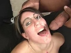 Sexy slut get a little cum on her face