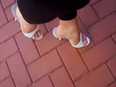 Walking in sexy mules