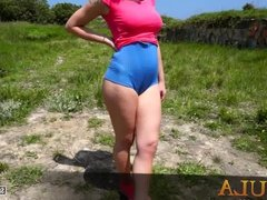 Spanish teen in supersexy shorts with meaty ass and cameltoe