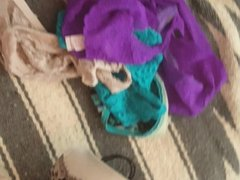 soaking roommates panties and spandex with cum