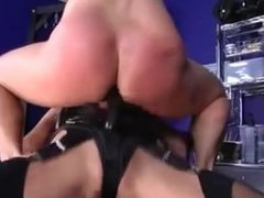 Blonde Mistress fucks her slave.