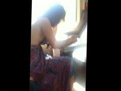 Desi Girl changing dress in train showing thong