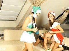 Christmas threesome with big cumshot