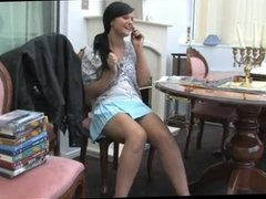 Girl with the phone shows us the white upskirt