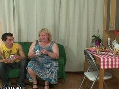 Huge granny is banged by her son's friend