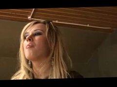 British slut Syren Sexton gets fucked on a leathersofa