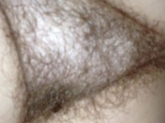 close up of her hairy bush,