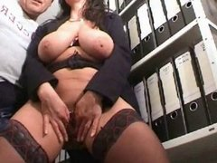 Busty amateur fucked and fisted at office