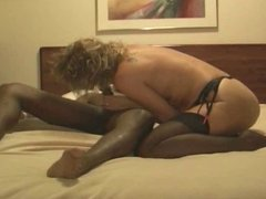 Hot wife takes on a roomful for hubby
