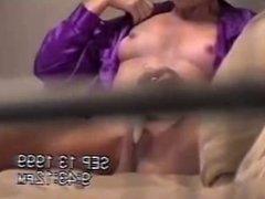 Bad voyeur spied his mom masturbating. Through window