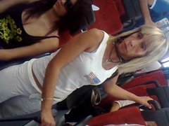 Candid busty italian girl on bus