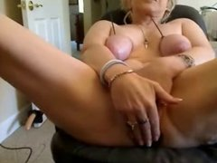 Watch this pervert old whore having fun on web cam