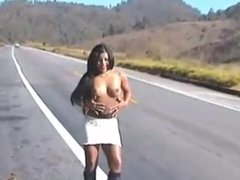 hot girl flashing on the road