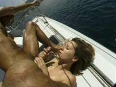 gangbang on saling boat - he sprays her with his cum