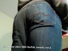 Jeans cum with thick muscle cock!
