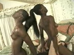 threesome 2 ebony girls and 1 lucky man