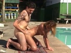 Passionate shemale anal outdoors