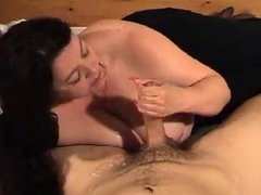 BBW with big boobs sucks cock and get a cumshot