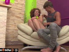 Innocent Red Head Sunny Fucked Hard