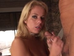 Blonde chick giving a handjob