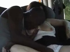 HORNY WIFE  IN THE BACKSEAT OF A CAR
