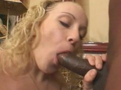 Chocolate dick in her white cunt