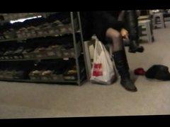 Upskirt Jody at the shoestore