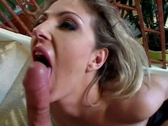 Teen blonde pounded on the stairs