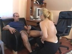 Blonde hottie crams hard cock up her crack