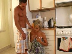 Short-Haired Blond MILF Eats Muscle Guy's Asshole