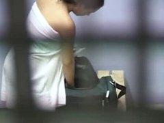 cute teen changing in locker room