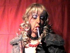 Mature tranny whore smokes