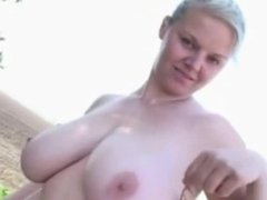 Horny Blonde Chubby Ex Girlfriend Showing her Tits outdoors