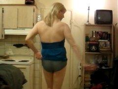 slut tranny in skin tight blue mini!