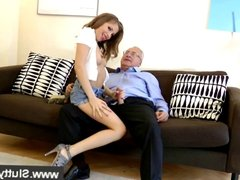 Young woman straddles mature cock after bj