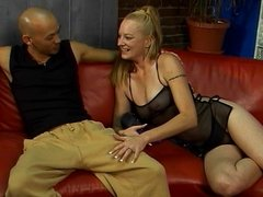 Horny dudes get lucky with hot blonde