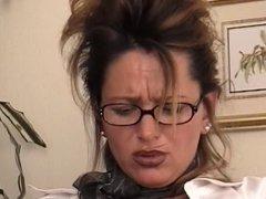 Big tits chick in glasses masturbating
