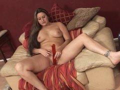 Horny hottie using a  dildo to get off